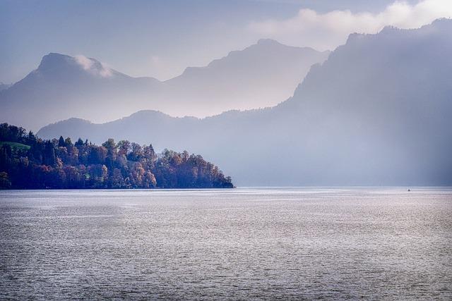 Mountains, Haze, Peninsula, Nature, Lake