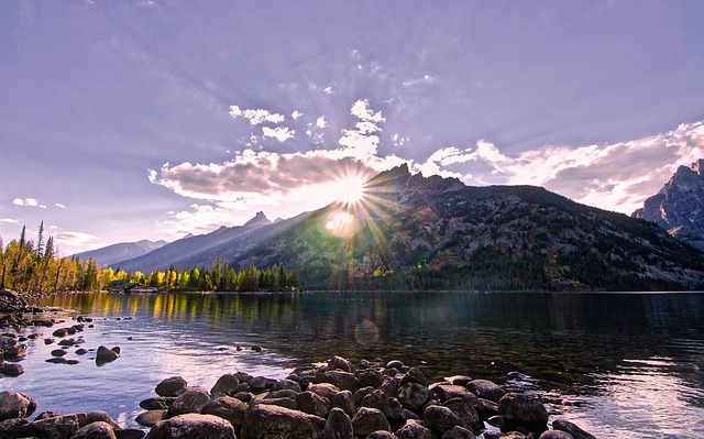 Wyoming, Landscape, Mountains, Lake, Water, Reflections