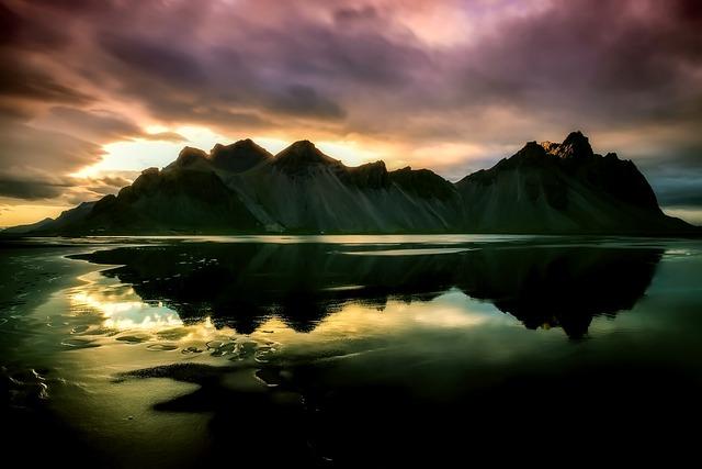 Iceland, Rock, Mountains, Sunset, Dusk, Sky, Clouds