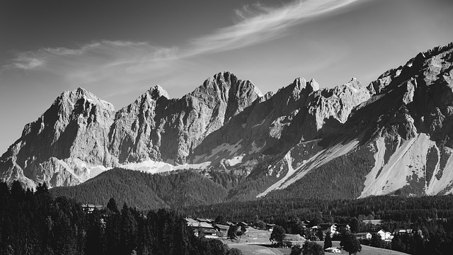 Alpine, Mountains, Rock, South Wall, Snow, Panorama