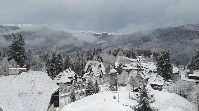 Romania, Sinaia, Morning, Mountains, Snow, Winter