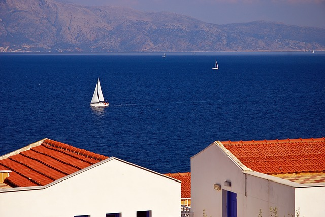 Greece, Sea, Sailboat, Roof, Mountains, Vacation