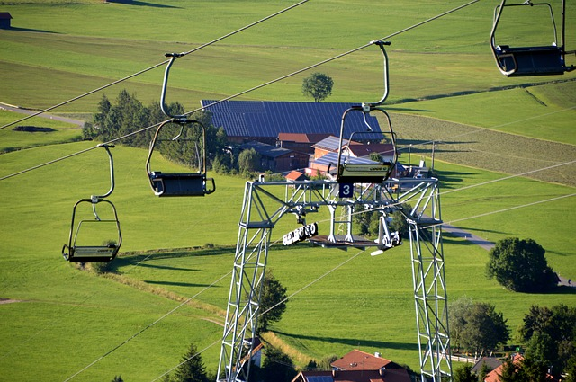 Ski Lift, Construction, Wheels, Steel, Ropes, Mountains