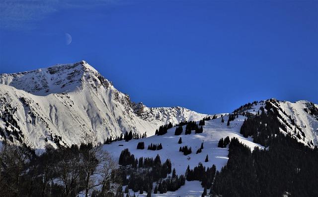 In The Night, Mountains, Moonlight, Sky, Light, Alpine