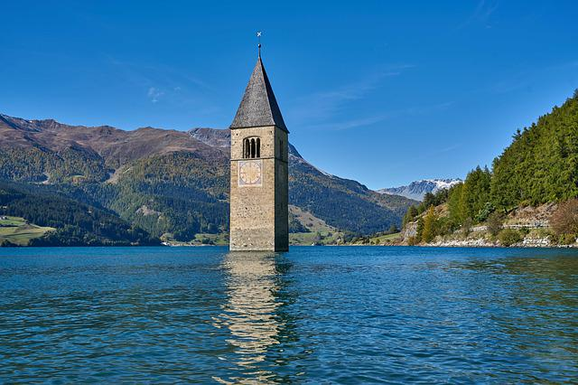 Reschensee, South Tyrol, Italy, Lake, Mountains