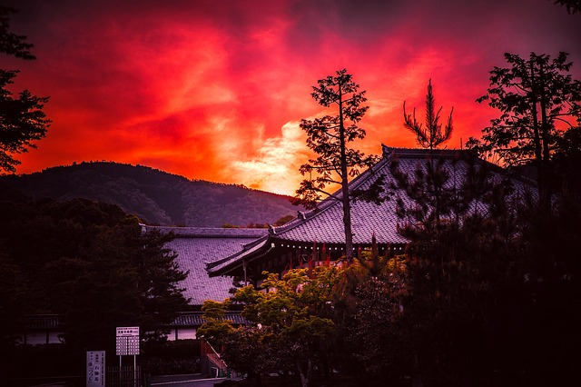 Kyoto, Japan, Mountains, Pagoda, Temple, Hdr, Sunset