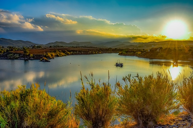 Lake, Dam, Nature, Landscape, Mountains, Sunset, Sun