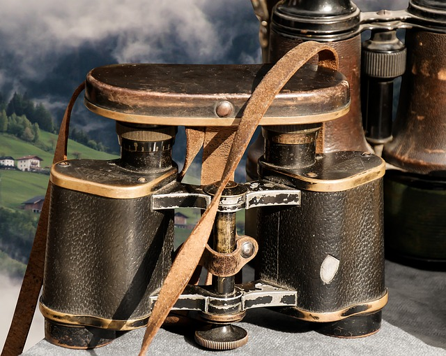 Binoculars, Mountains, View, Clouds, Old, Nostalgia