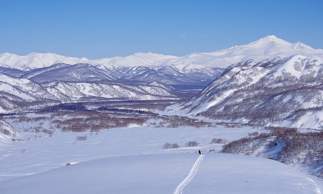 Winter, Mountains, Volcano, Valley, Snowmobile, Forest