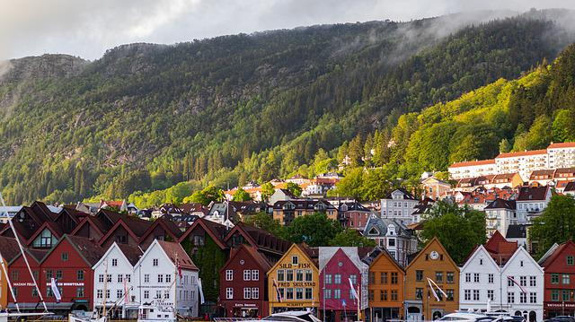 Norway, Houses, Mountains, Port, City, Water, Forest