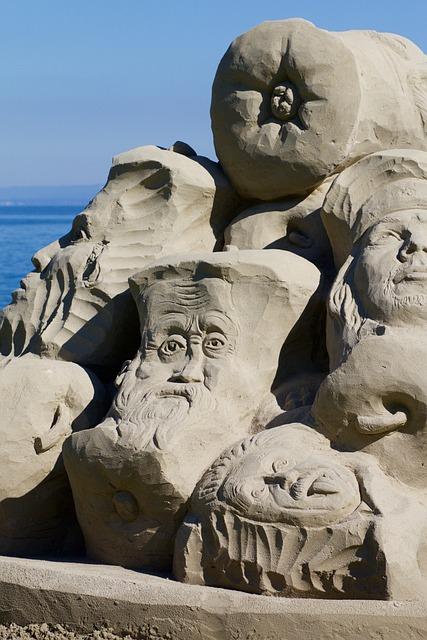 Eye, Nose, Mouth, Face, Einstein, Sand Sculpture