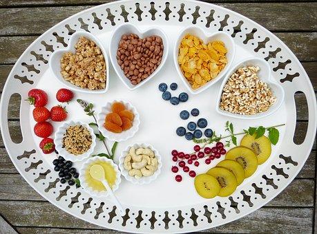 Tray, Breakfast, Muesli, Fruit, Fruits, Bowls, Heart