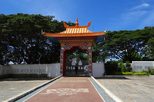 Drepung Gomang Monastery Gate, Mundgod, India, Buddha