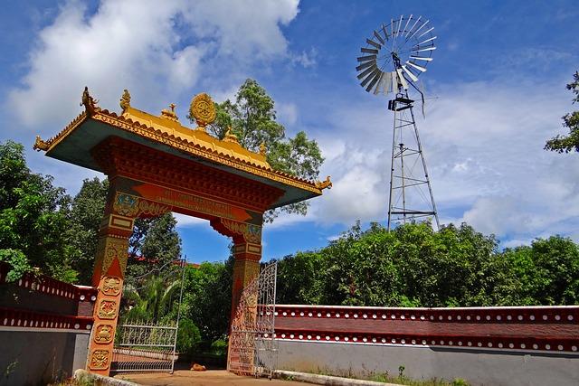 Tibetan Settlement, Gate, Wind Mill, Mundgod, India