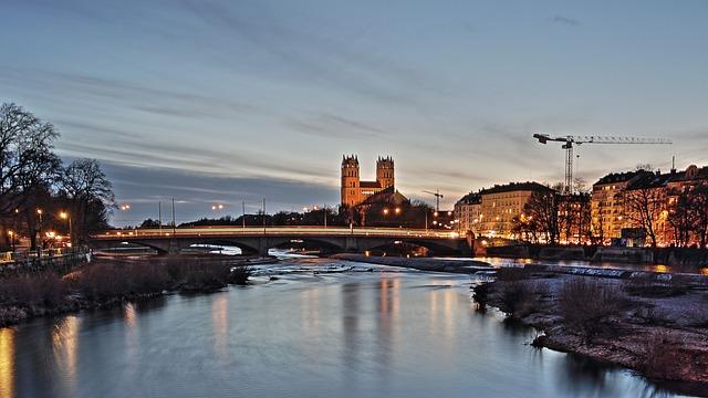Munich, Isar, Night, River, Water, Bavaria, Germany