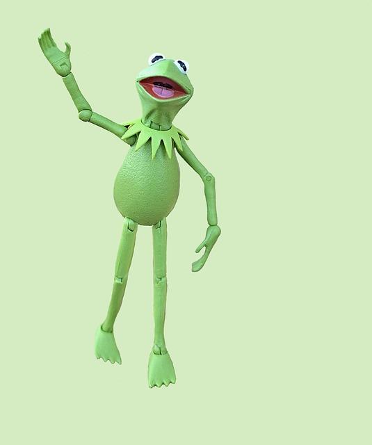 Kermit, Frog, Muppet, Action Figure, Green, Waving