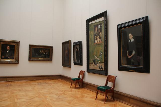 Museum, Chairs, Painting
