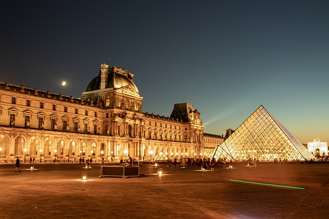 Museum, Pyramid, Facade, Illuminated, Paris, France