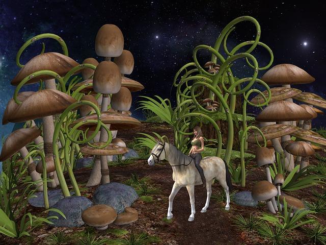 Fantasy, Mushroom, Horse, Enchanted Forest, Toadstool