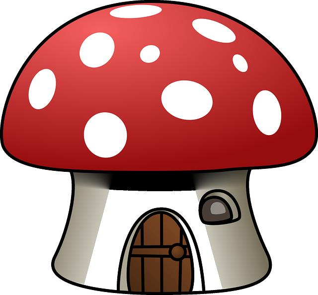 House, Mushroom, Red, White, Shape