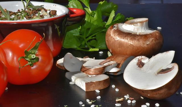 Mushrooms, Brown Mushrooms, Rice, Tomatoes, Herbs, Eat