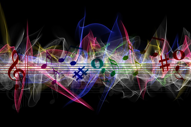 Brush, Particles, Music, Clef, Wave, Line, Colorful