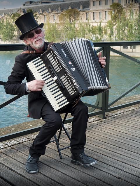 Musician, Street, Paris, Accordion, Music, People, Work