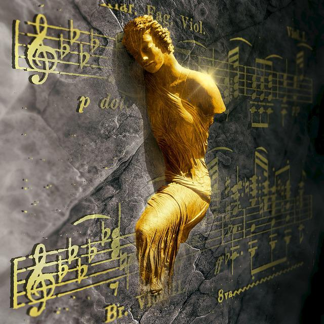 Cd Cover, Music, Gold, Figure, Statue, Wall, Light