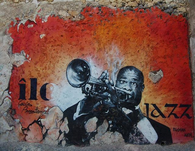 Louis Armstrong, Jazzman, Trumpet, Musician, Street Art