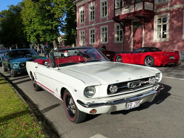 Car, Mustang, White, Bilkväll, City, Street, House