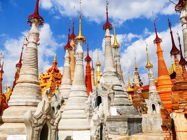 Stupas, Burma, In Input, Inlesee, Myanmar, Pagoda