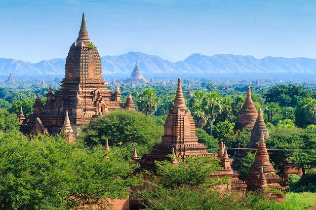 Bagan, Myanmar, Archaeological Area, Panorama