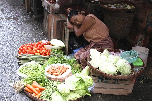 Burma, Myanmar, Market, Woman, Asia, Vegetable Market