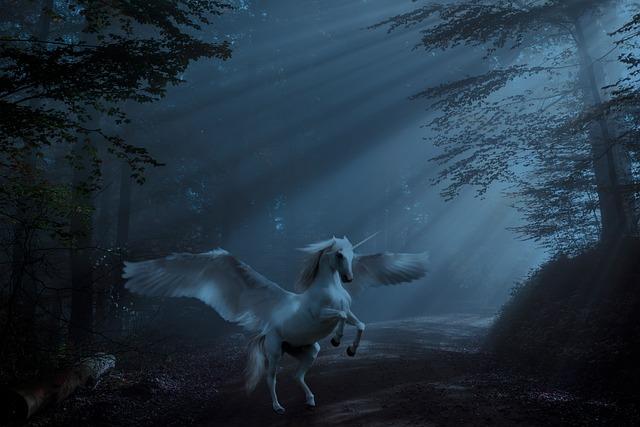 Fantasy, Forest, Unicorn, Mystic, Surreal