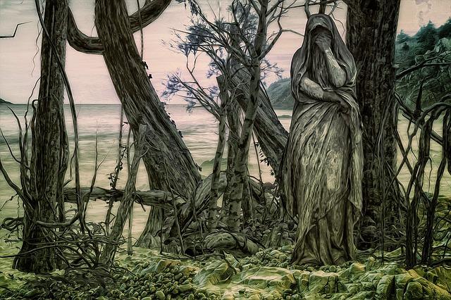 Gothic, Fantasy, Dark, Forest, Sea, Statue, Mystic
