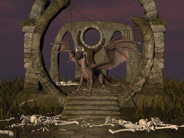 Dragon, Bone, Fantasy, Sunset, Mystical