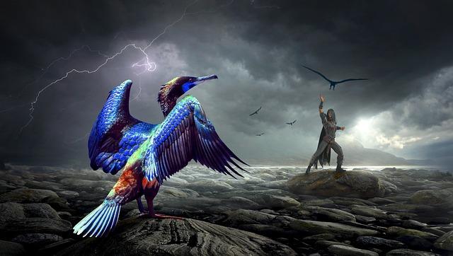 Fantasy, Bird, Human, Blue, Mystical, Landscape