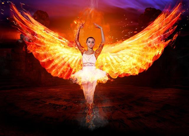 free photo mystical wing figure angel fire woman