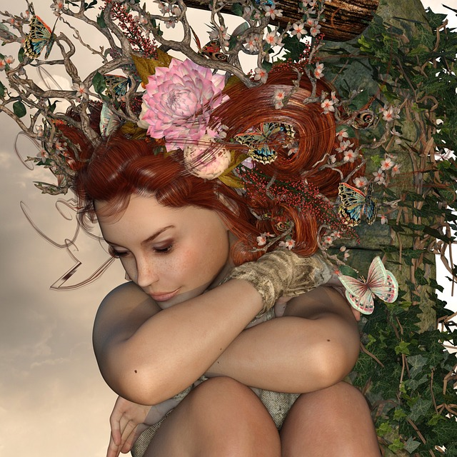 Woman, Nature, Crown, Ivy, Pretty, Mystical, Flowers