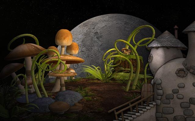 Cottage, Plants, Mushrooms, Garden, Mythical World