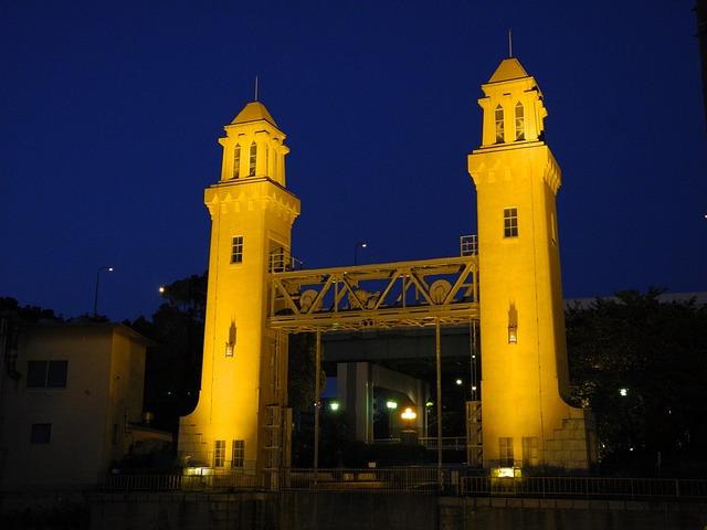Sluice Gate, Night, Nagoya, Japan, Landmark, Culture