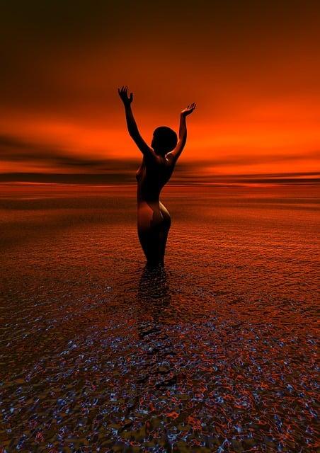Nude, Sunrise, Woman, Naked, Adult, Sun, Water