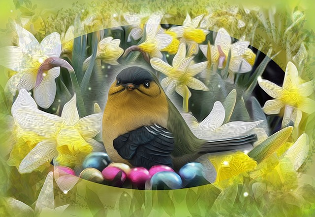 Easter, Bird, Flowers, Narcissus, Great Tit