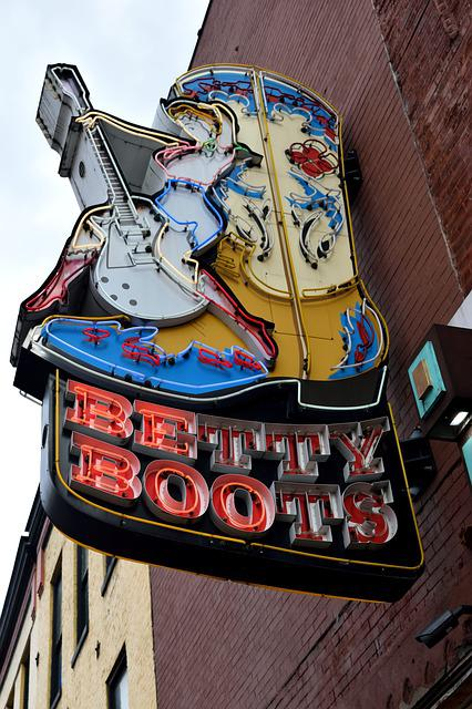 Neon Sign, Sign, Boots For Sale, Nashville, Tennessee