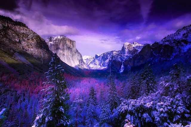 Yosemite, National Park, California, Mountains, Snow