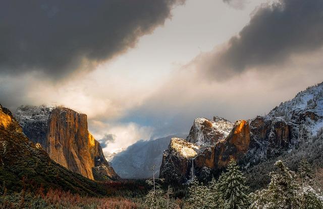 Yosemite, National Park, California, Snow, Mountains