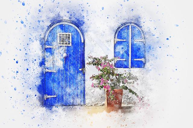 Door, Flowers, Nature, Art, Abstract, Watercolor