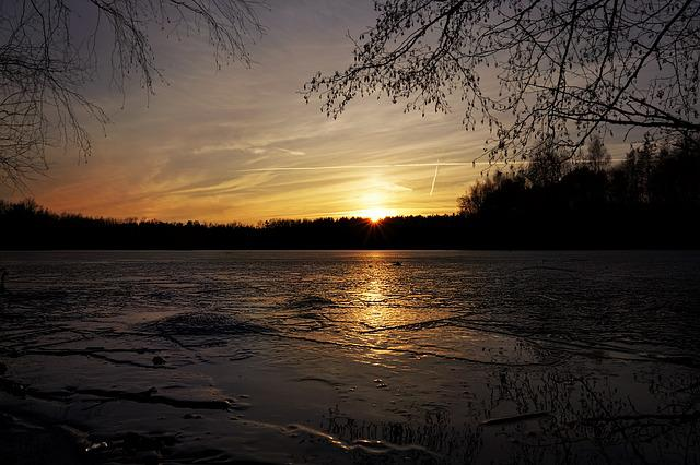Sunset, Dusk, Nature, Waters, Ice, Lake, Aschaffenburg