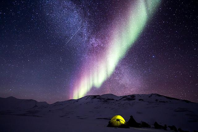 Night, Aurora, Snow, North Pole, Nature, Polar Lights