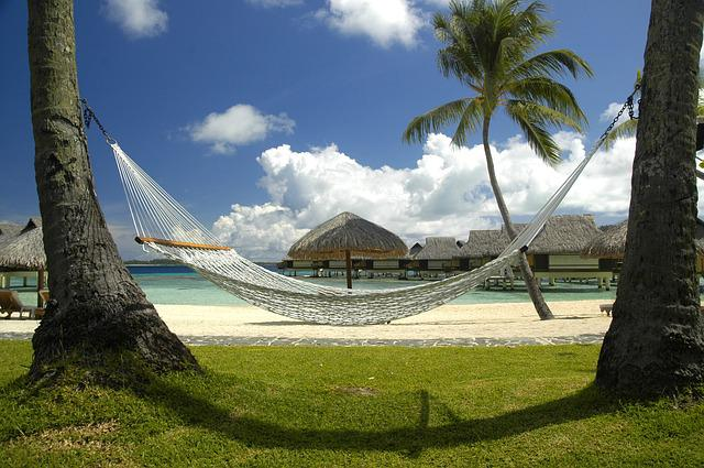 Beach, Bungalows, Clouds, Hammock, Nature, Ocean